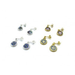 Murrina Millefiori Earrings, in Sterling Silver, 10 mm in diameter (Available in 15 assorted Colours)