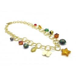 Murano Glass Necklace - Mod. Charms, 50 cm - Short (Available in Plating Gold and Chrome)