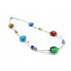 Murano Glass Necklace - Mod. Emily, 45 cm (Available in 3 Colours)