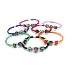 Murano Glass Bracelet in Rubber - Mod. Carnevale3, 21 cm (Available in 10 assorted Colours)