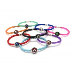 Murano Glass Bracelet in Rubber - Mod. Carnevale1, 21 cm (Available in 10 assorted Colours)