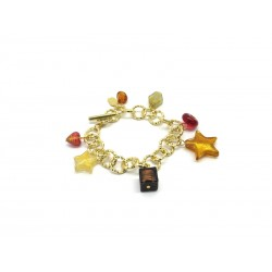 Murano Glass Bracelet - Mod. Charms, 21 cm (Available in Plating Gold and Chrome)