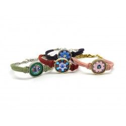 Murano Glass Bracelet in Alcantara - Mod. Erika, 21 cm (Available in Plating Gold e Chrome Case)