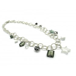 Murano Glass Necklace - Mod. Charms, 100 cm - Long (Available in Plating Gold and Chrome)