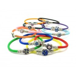 Murano Glass Bracelet in Rubber - Mod. Colombina, 21 cm (Available in 10 assorted Colours)