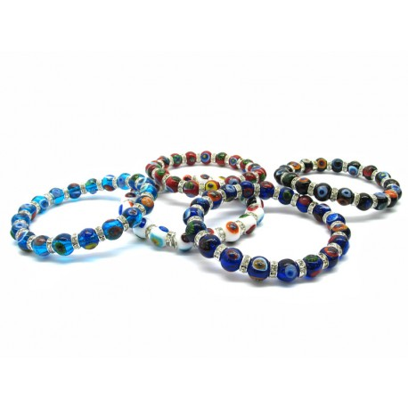 Murano Glass Bracelet - Mod. Asola , 21 cm (Available in 4 Colours)