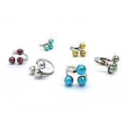 Anello in Argento e Perle di Murano - Mod. Mirò (Colori assortiti)