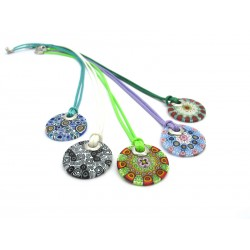 Pendant in Murrina and Silver - Mod. Mari - Diam 26 mm (Available in 10 assorted Colours)