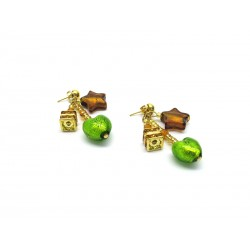 Murano Glass Earrings - Mod. Caravella, 12x8 mm (Available in 4 Colours)