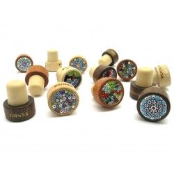 Bottle wine Stopper in wood and Millefiori Glass, 35x30 mm (Available in assorted Colours)
