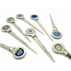 Letter Opener in Murano Glass and metal, 160x35 mm (Available in assorted Colours)
