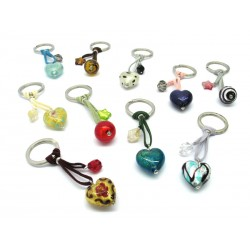 Murano Glass Keychain, made with glass heart, 26x15 mm (Available in assorted Colours)