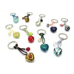 Portachiavi in perle di Murano, a forma di Cuore, 26x15 mm (Colori assortiti)
