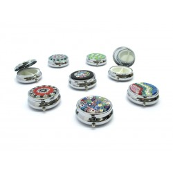 Murano Pill Boxes with Murrina, in chrome metal, 40x15 mm (Available in assorted Colours)