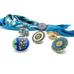 Scarf Ring with Murrina, in Chrome and Gold metal, 36 mm (Available in assorted Colours)