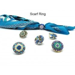 Scarf Ring with Murrina, in Chrome and Gold metal, 23 mm (Available in assorted Colours)