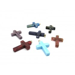 Murano glass Cross in Sterling Silver, 38x27 mm (Available in assorted Colours)
