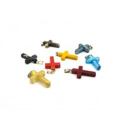 Murano glass Cross in Sterling Silver, 22x16 mm (Available in assorted Colours)