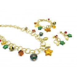 Murano Glass Set Mod. Charms, 100 cm - Long (Available in Plating Gold and Chrome)