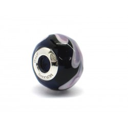 Pandora Style Bead (Mod. RHD4) in authentic Murano Glass and 925 Italian Sterling Silver