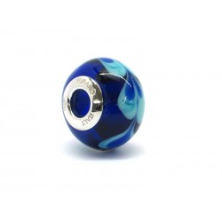 Pandora Style Bead (Mod. RHD5) in authentic Murano Glass and 925 Italian Sterling Silver