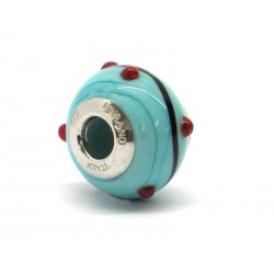 Pandora Style Bead (Mod. RZP6) in authentic Murano Glass and 925 Italian Sterling Silver
