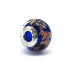 Pandora Style Bead (Mod. RAM3) in authentic Murano Glass and 925 Italian Sterling Silver