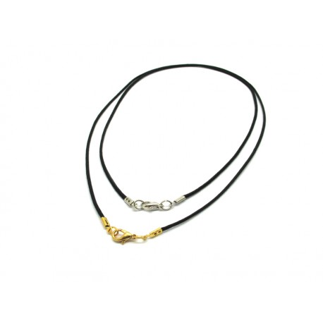 Rubber Cord (45 cm) with clasp in Gold or Chrome.