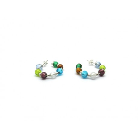 70% off - Murano Glass Earrings Mod. Arcobaleno, in Silver 925