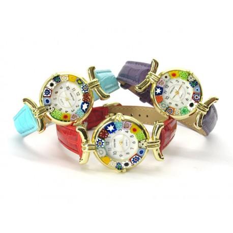 Orologio con vetro di Murrina Veneziana, cassa Dorata, Cint. Rosso - Mod. Lady (Disponibile in 21 Colori)