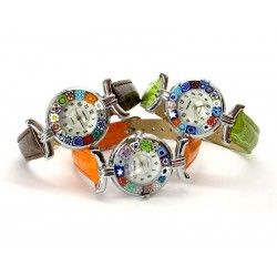 Murano millefiori watch, Chrome case - Mod. Lady, Assorted Strap, (Available in 21 Colours)