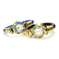 Murano Millefiori Bangle Watch, Assorted plastic Bracelet, Gold Case - Mod. Serenissima