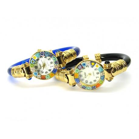Murano Millefiori Bangle Watch, Blue plastic Bracelet, Gold Case - Mod. Serenissima
