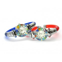 Murano Millefiori Bangle Watch, Assorted plastic Bracelet, Chrome Case - Mod. Serenissima