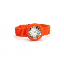 Orologio con vetro di Murrina Veneziana, cassa in Gomma in 16 colori, Cint. Arancio - Mod. Carnevale
