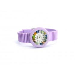 Murano millefiori watch, Rubber case in 16 Colours - Mod. Carnevale, Lilac Strap