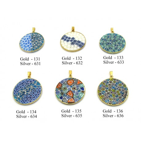 Murrina Pendant in Sterling Silver (B18) Rialto Design, 18 mm in diameter
