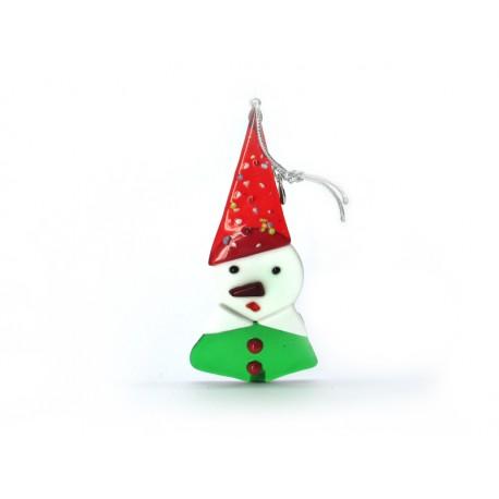 Pendente di Natale in Vetro di Murano - Mod. P. di Neve - 110x35 mm