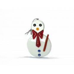 Pendente di Natale in Vetro di Murano - Mod. Olaf - 90x60 mm