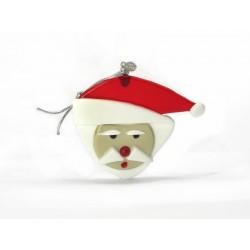 Pendente di Natale in Vetro di Murano - Mod. Babbo Natale - 80x70 mm