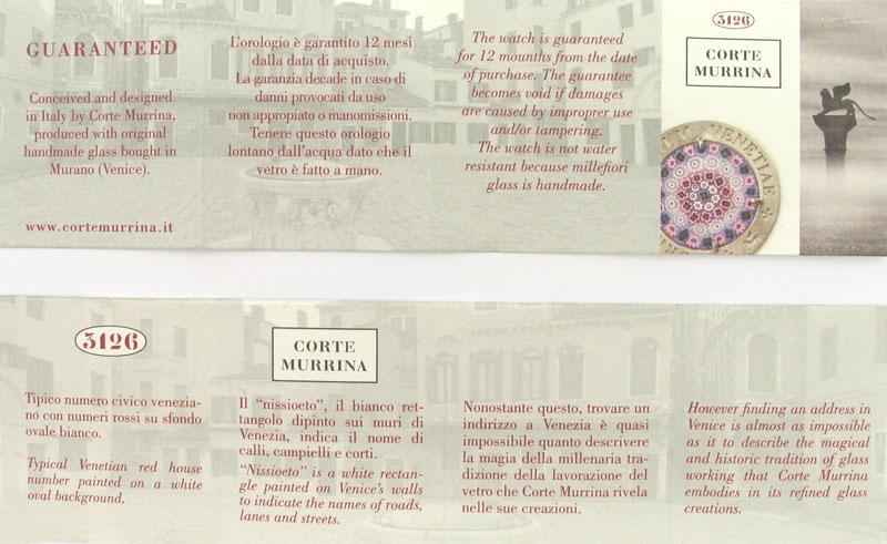 Murano glass certificato di Garanzia per orologi com Murrina