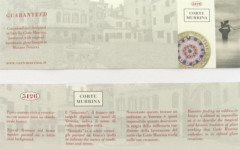 Murano glass certificato di Garanzia