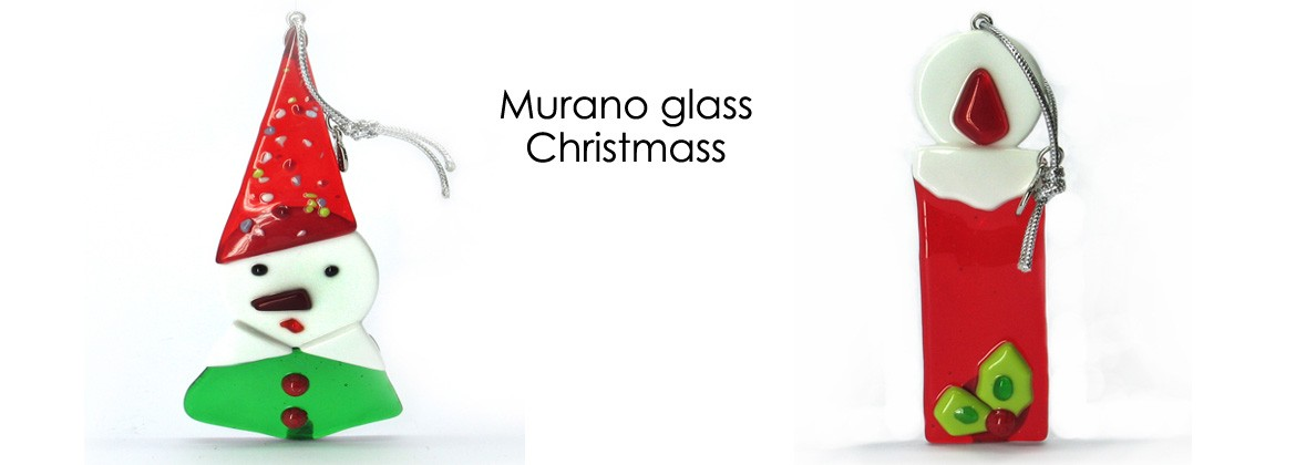 Murano Glass Christmas Ornament, Mod. Campana (95x75 mm) available in Red color, made entirely handmade by Murano master glass