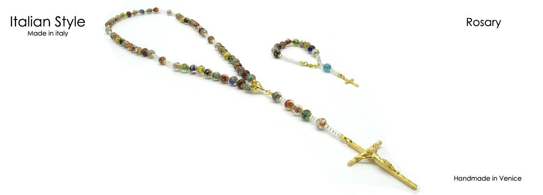 Rosario in Perle di Murano, Mod. CO093A (50 cm) con 59 Perle ( Diam 9) in foglia Argento 925 e Oro 24 Kt