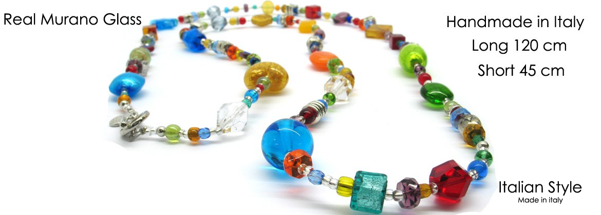 Murano Glass Necklace, Mod. Giuditta (120 cm) made with assorted beads, available in 3 colours