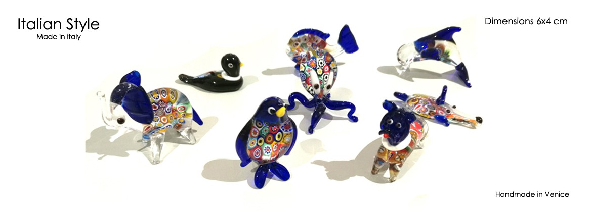 Piccoli animali in Vetro di Murano, alt.35 mm, lungo 50 mm, disponibile 10 forme assortite,