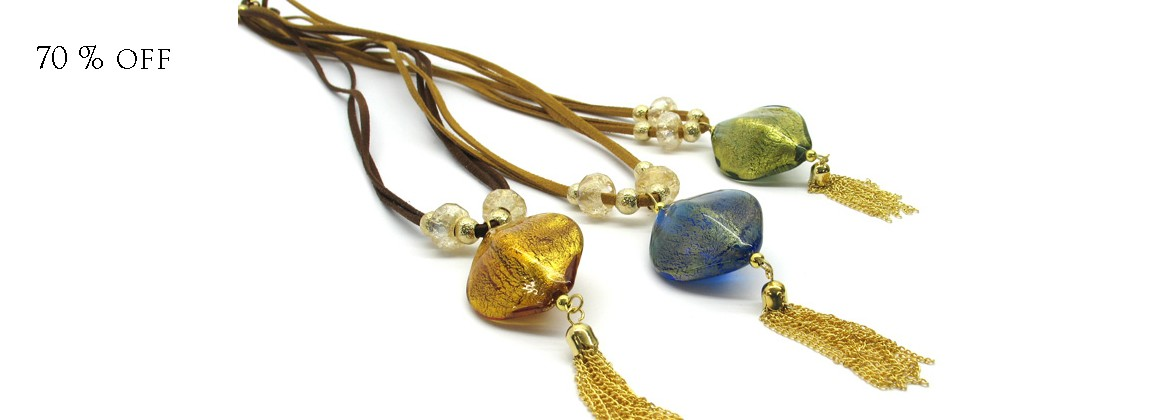 70% off - Murano Glass Necklace - Mod. Agnese 50 cm (Available in Ass. Colours)