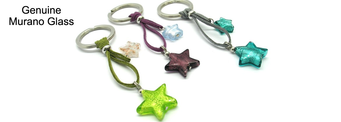 Murano Glass Keychain, made with glass Star Beads,