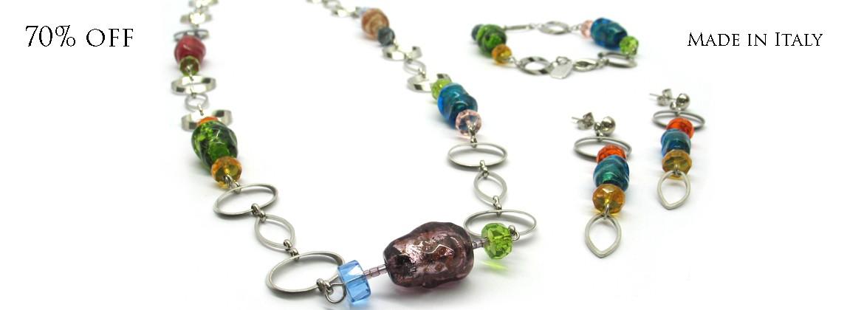 70% di Sconto - Collana in perle di Murano, Mod. Lucy