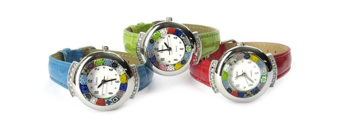Murano millefiori watch, Chrome case with Strass